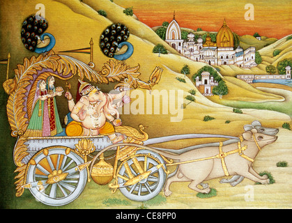 BDR80479 : indian Lord Ganesh with Riddhi and Siddhi on chariot pulled by mouse Miniature Painting india - Stock Photo