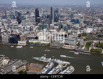 Aerial image of HMS Belfast and the City of London - Stock Photo