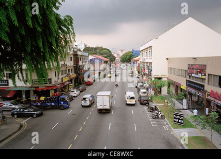 Street scene in the district of Geylang in Singapore in Far East Southeast Asia. Road Traffic Car Life Lifestyle - Stock Photo