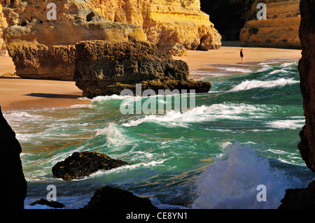 Portugal, Algarve: High tide at beach Praia da Marinha near Carvoeiro - Stock Photo