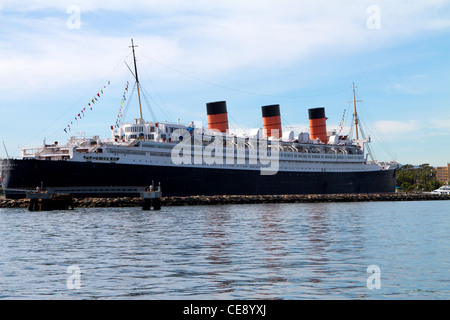 The Queen Mary docked in Long Beach California - Stock Photo