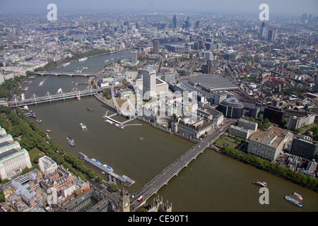 Aerial image of Westminster Bridge and River Thames looking towards the South Bank, London SE1 - Stock Photo