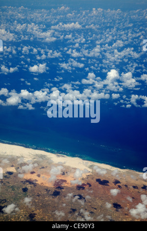An aerial view of the Somalian coastline near Mogadishu – an area frequented by modern-day pirates. - Stock Photo