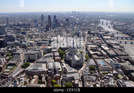 Aerial image of St Paul's Cathedral looking east to the City of London - Stock Photo