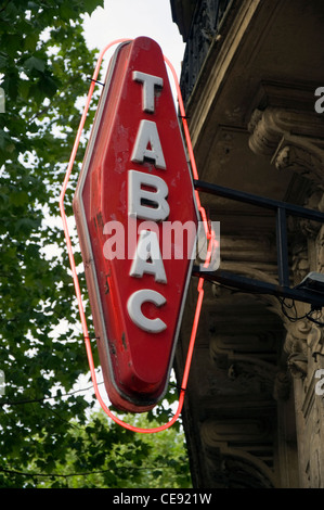 Tabac sign on a Parisian street - Stock Photo