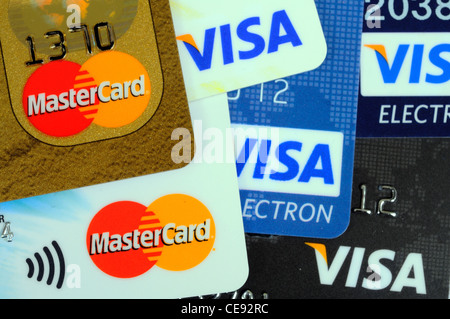 VISA and Mastercard credit and debit cards, England, UK, Western Europe. - Stock Photo