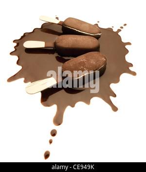 Ice Cream Chocolate Bars on a Chocolate Splash - Isolated - Stock Photo