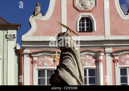 Front facade of the renaissance houses at the main square in Telc, UNESCO heritage site, Czechia - Stock Photo