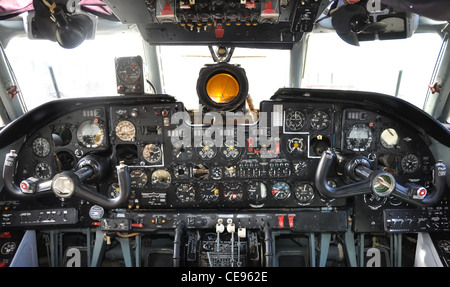 old airplane cockpit, russian - Stock Photo