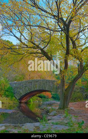 Gapstow Bridge & The Pond in Autumn, Central Park - Stock Photo