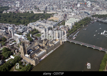 Aerial image of the Palace of Westminster - Houses of Parliament, and The River Thames and Westminster Bridge, London - Stock Photo
