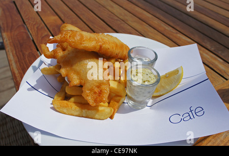 A plate of fish and chips - Stock Photo