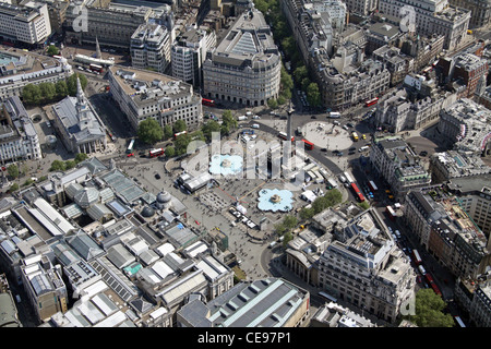 aerial view of Trafalgar Square & Nelson's Column with the National Gallery in the bottom left, London WC2 - Stock Photo