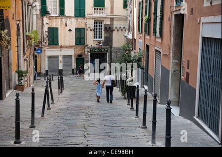 Piazza Della Maddalena. Old Town. Genoa (Italian, Genova) Italy - Stock Photo