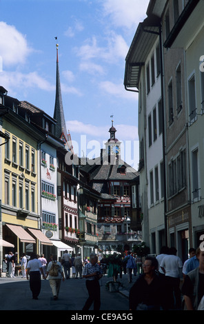 Switzerland, Stein am Rhein, a beautiful and historic town on the Rhine. - Stock Photo