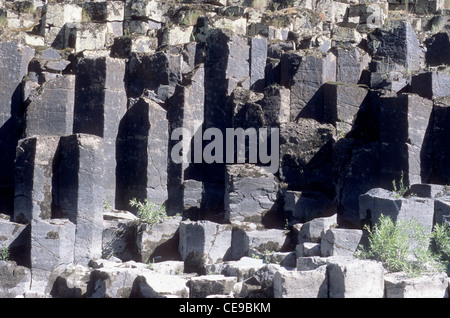 Columnar basalt  along lower Salmon River, Idaho - Stock Photo
