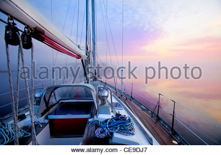 Dawn from the deck of a sailboat along the Atlantic Intracoastal Waterway, Pamlico Sound, North Carolina, USA. - Stock Photo