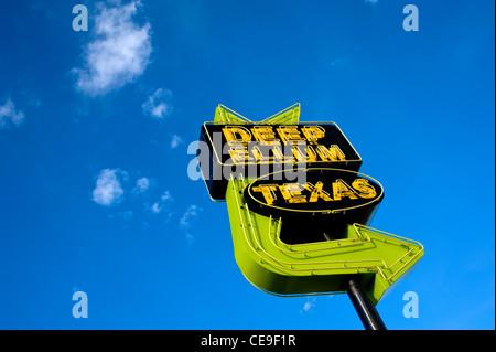Deep Ellum neon sign Dallas, Texas USA - Stock Photo