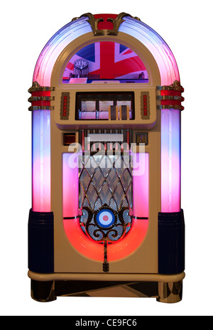 Vintage jukebox isolated in white - Stock Photo
