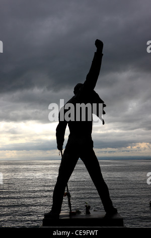 Monument of Freddie Mercury on the shore of Lake Geneva in Montreux, Switzerland. - Stock Photo