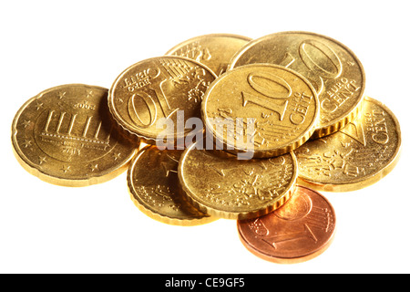 Heap euro cent coins isolated over white background - Stock Photo