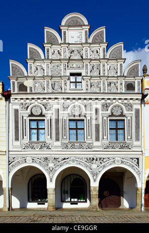 Facade of the house in Telc town, Czech Republic - Stock Photo