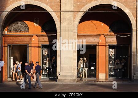 Carabinieri Police passing Shopping Arcades Bologna Emilia-Romagna Italy - Stock Photo