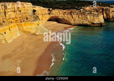 Portugal, Algarve: View to an unaccessible beach near Carvoeiro - Stock Photo