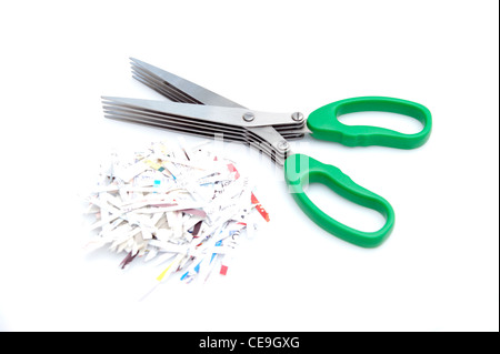 5 blade shredder scissors for shredding personal information / documents as a safety issue - Stock Photo