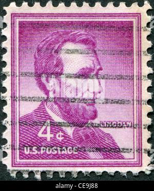 USA - CIRCA 1954: A stamp printed in the USA, shows Abraham Lincoln, circa 1954 - Stock Photo