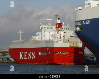 car carrier Isar Highway in Bremerhaven. - Stock Photo