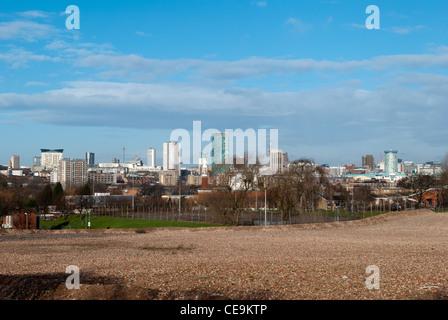 Birmingham city centre skyline viewed from highgate - Stock Photo