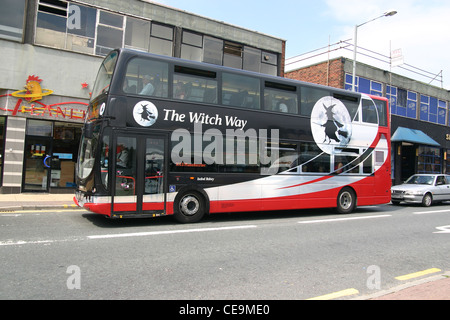 The X43 Witchway bus service runs from Burnley to Manchester - Stock Photo