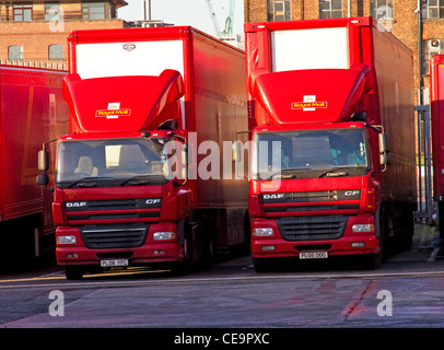 Royal Mail trucks in depot, Travis Street, central Manchester, England, UK - Stock Photo