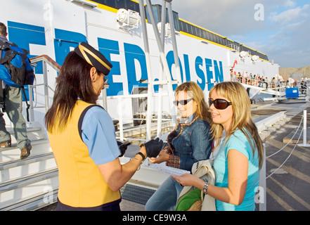 Passengers boarding Fred Olsen line passenger car ferry Benchijigua Express in port of Los Cristianos, Tenerife, - Stock Photo