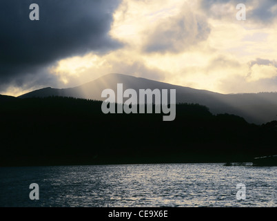 lake district national park cumbria england uk - cloudburst and sunburst, sunset over causey pike and derwentwater - Stock Photo