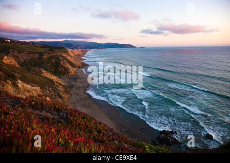 A view of the sunset on the cliffs of Pacifica, Ca - Stock Photo