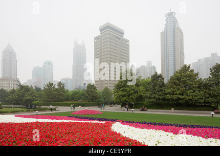 View of skyscrapers from People's Park; Shanghai; China - Stock Photo