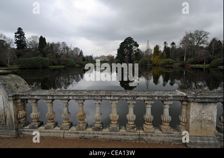 Sheffield Park gardens and house on a dull winters day in Sussex UK - Stock Photo