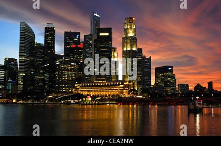 Asia Singapore City Skyline at Night - Stock Photo