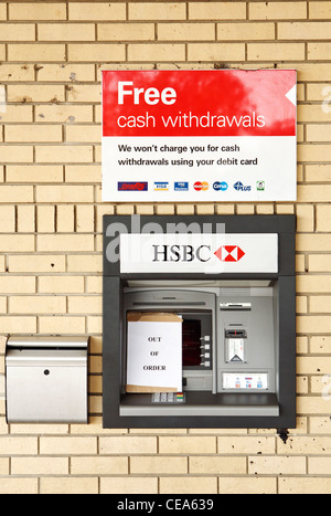 HSBC ATM out of order - Stock Photo