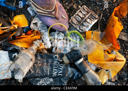 Discarded household waste in the Indian countryside, representing the concept of Indian family social issues. Andhra Pradesh, India