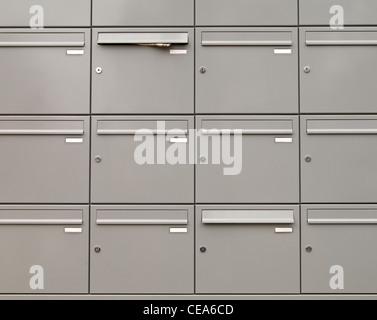 metallic mailboxes - Stock Photo