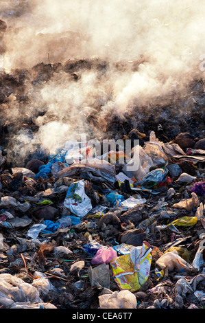 Household waste being burnt on the roadside in India - Stock Photo