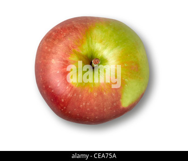 Red apple isolated over white background. Top view. - Stock Photo