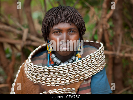 Bana Married Woman Wearing Skin And Shell Garment Omo Valley Ethiopia - Stock Photo