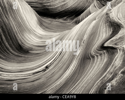 Sandtone formation in North Coyote Buttes, The Wave. Paria Canyon Vermillion Cliffs Wilderness. Utah/Arizona - Stock Photo