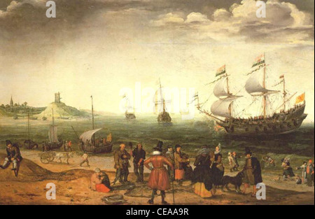 The painting Coastal Landscape with Ships by the Dutch painter Adam Willaerts (1577-1664). Oil on canvas, Collection of the Prince of Lichtenstein, Vaduz, year 1616.