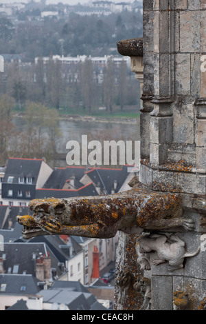 A gargoyle clings to the side of one of the bell towers at St Gatien in Tours, France. - Stock Photo