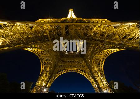 Night shot of Eiffel Tower, Paris, France - Stock Photo